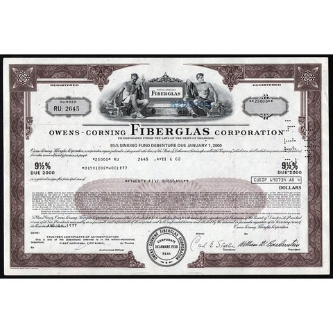 Owens-Corning Fiberglass Corporation Stock Certificate