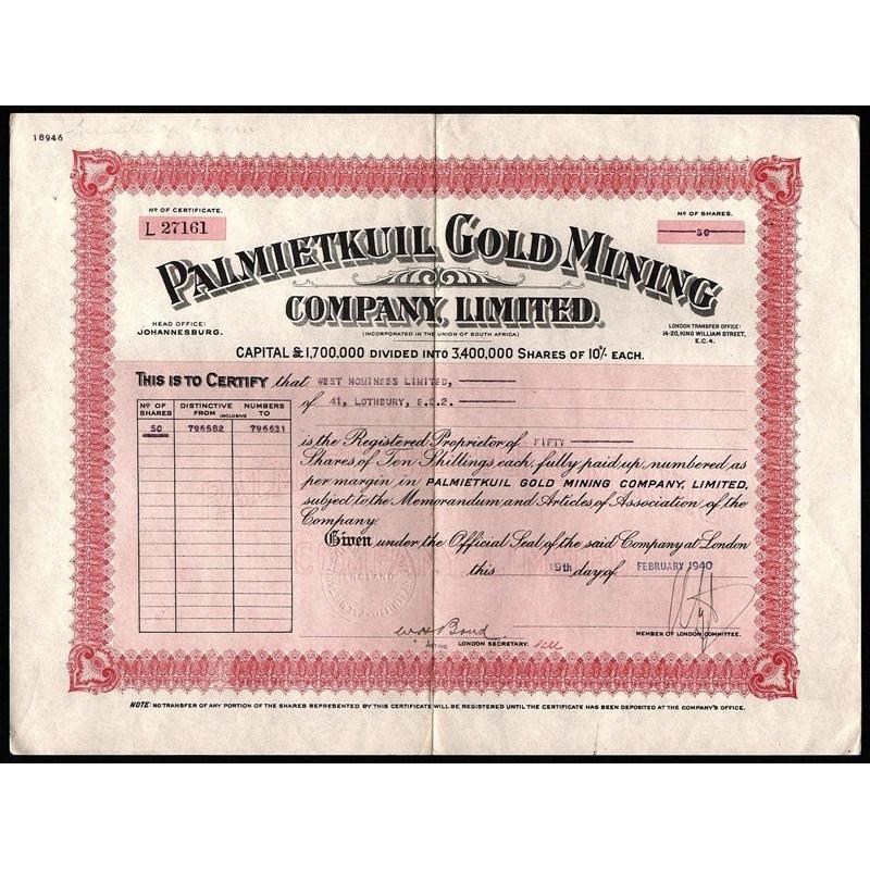 Palmietkuil Gold Mining Company, Limted Stock Certificate