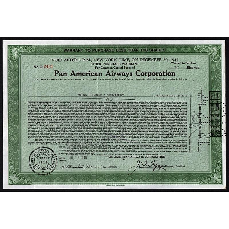 Pan American Airways Corporation Stock Certificate