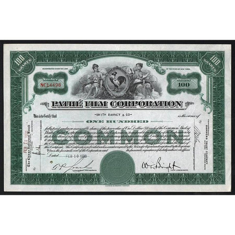 Pathe Film Corporation Stock Certificate