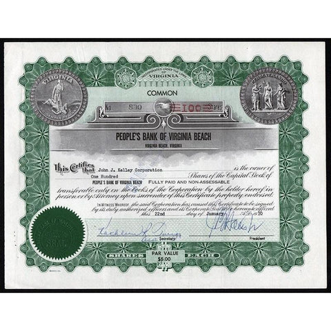 People's Bank of Virginia Beach (Virginia Beach, Virginia) Stock Certificate