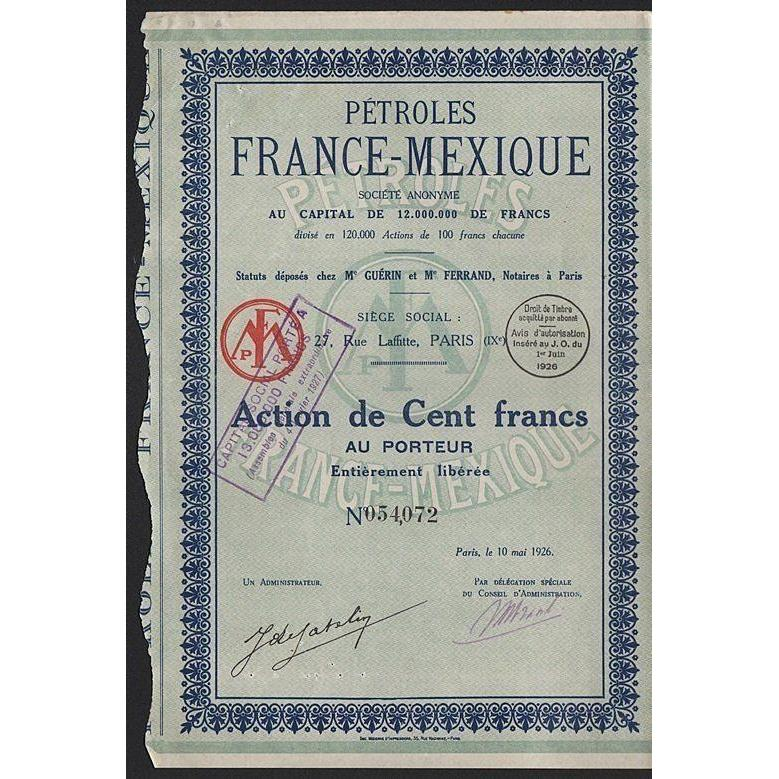 Petroles France-Mexique Societe Anonyme Stock Certificate