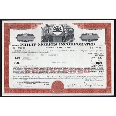 Philip Morris Incorporated Stock Certificate