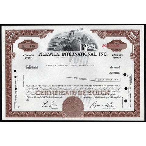 Pickwick International, Inc. Stock Certificate