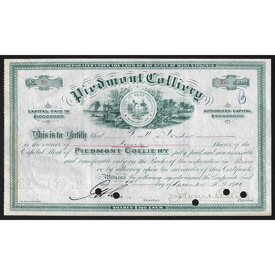 Piedmont Colliery Stock Certificate