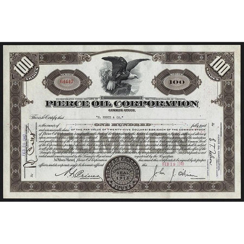 Pierce Oil Corporation Stock Certificate