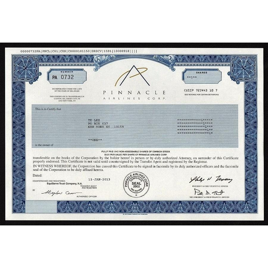 Pinnacle Airlines Corp. Stock Certificate