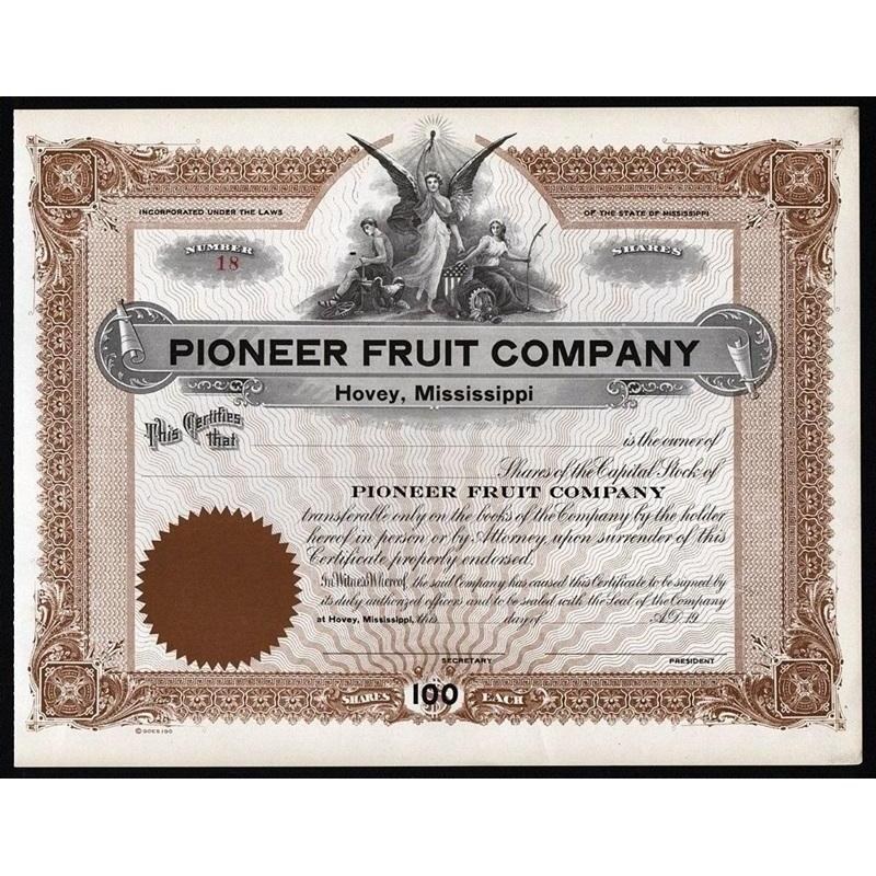 Pioneer Fruit Company (Hovey, Mississippi) Stock Certificate