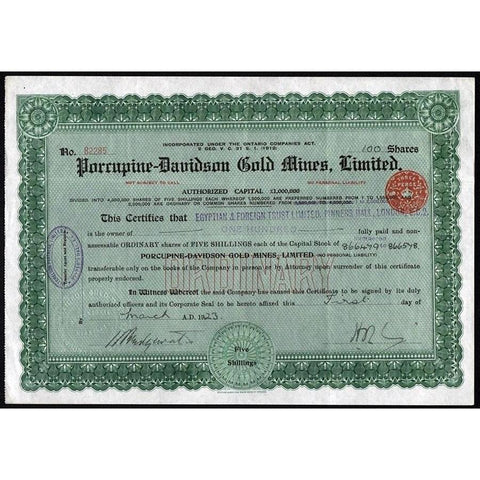Porcupine-Davidson Gold Mines, Limited Stock Certificate