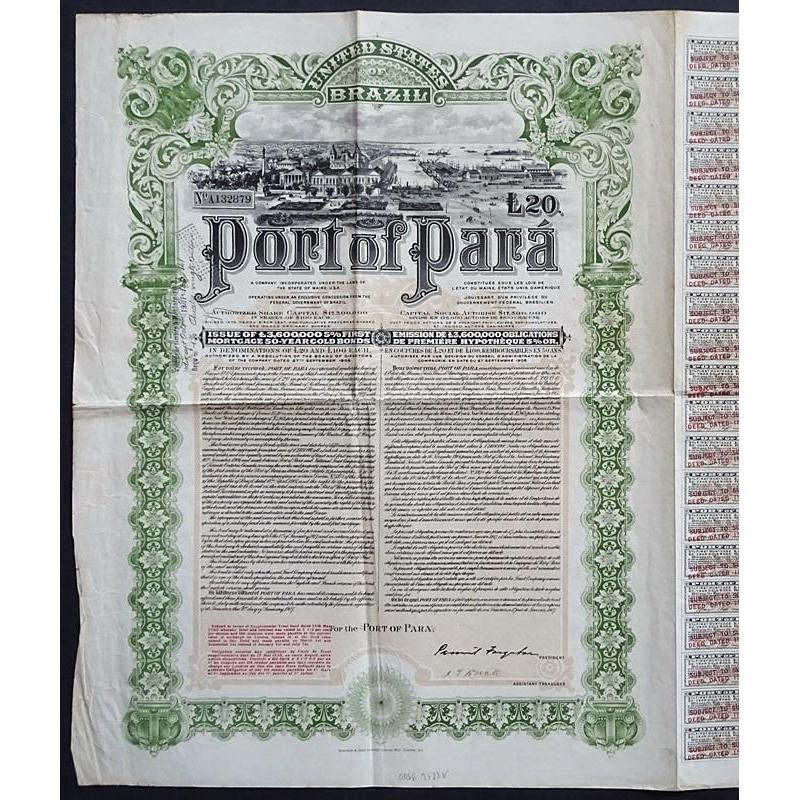 Port of Para, First Mortgage Gold Bond Stock Certificate