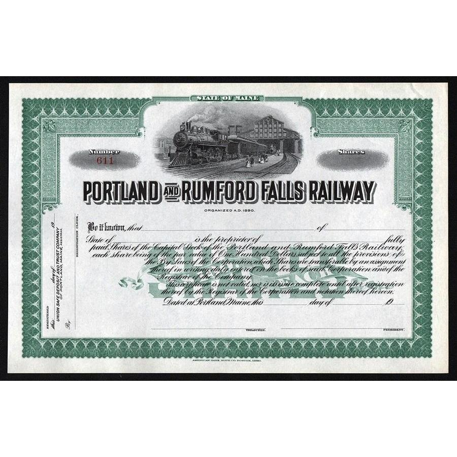 Portland and Rumford Falls Railway Stock Certificate