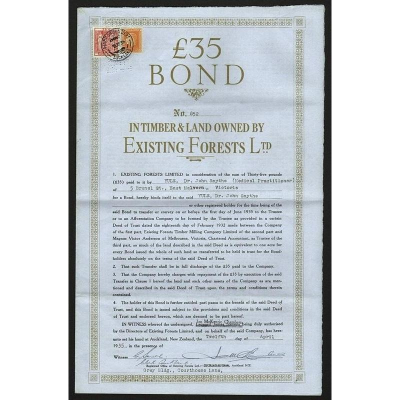 £35 Bond in Timber & Land owned by Existing Forests Ltd. Stock Certificate