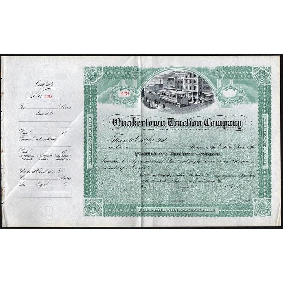 Quakertown Traction Company Stock Certificate
