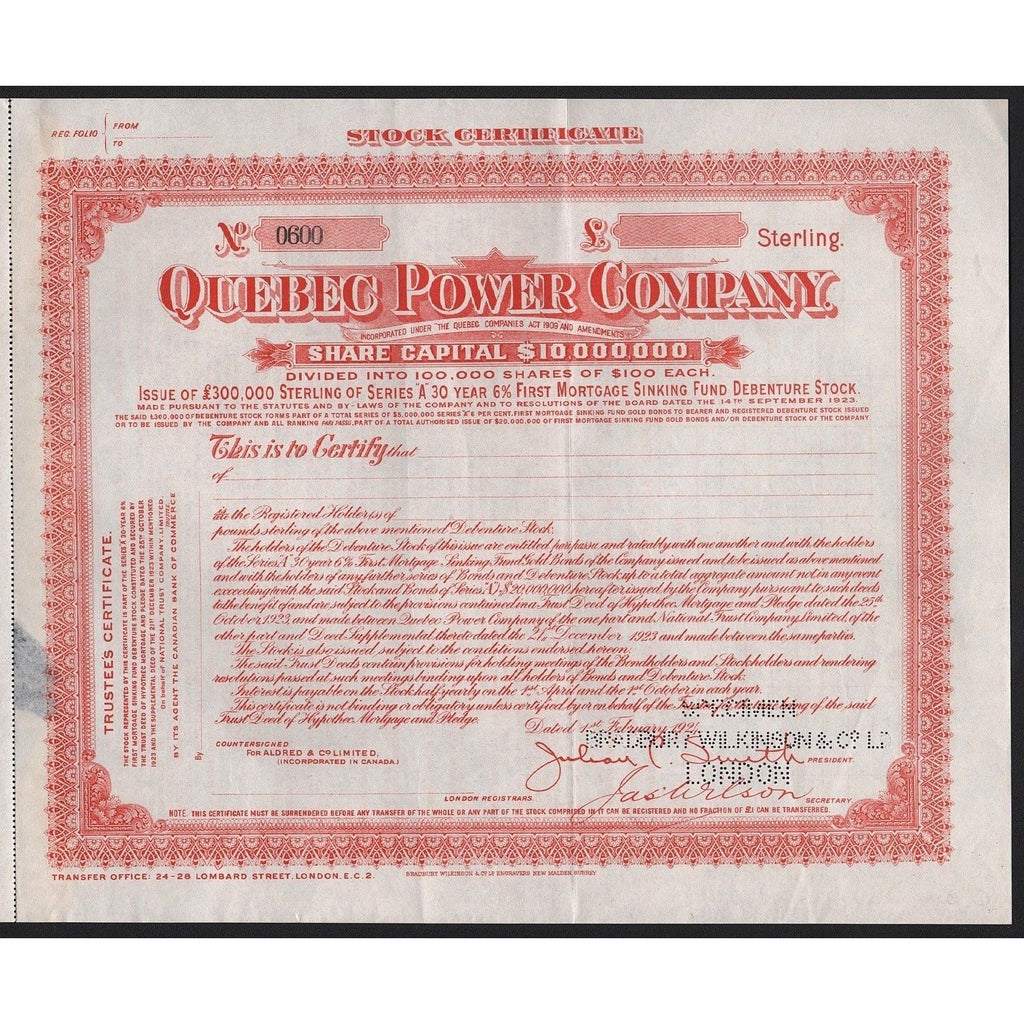 Quebec Power Comapny (Specimen) Stock Certificate