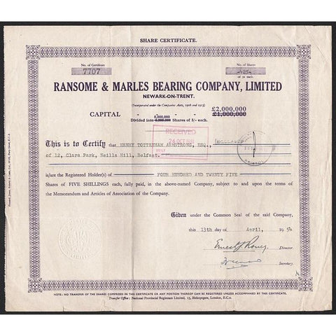 Ransome & Marles Bearing Company Limited (Newark-on-Trent) Stock Certificate