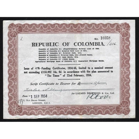 Republic of Colombia Stock Certificate