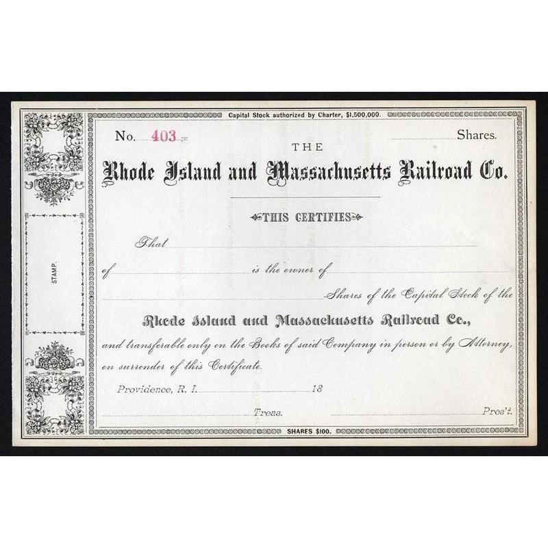 Rhode Island and Massachusetts Railroad Co. Stock Certificate