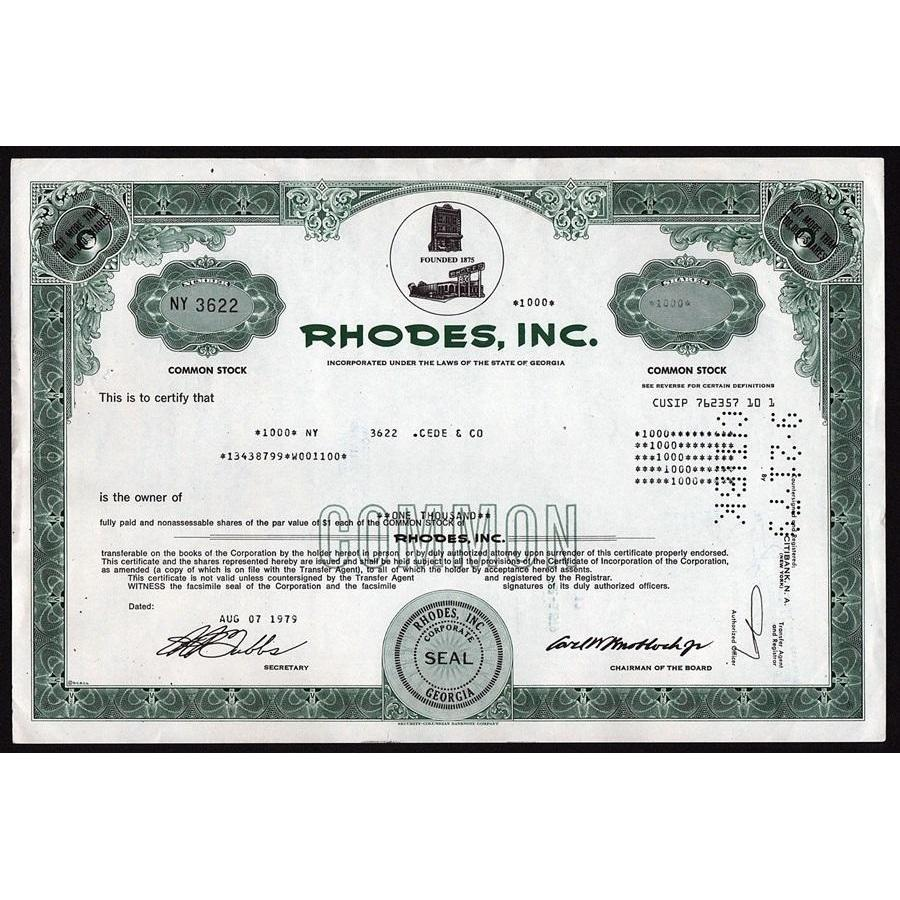 Rhodes, Inc. Stock Certificate