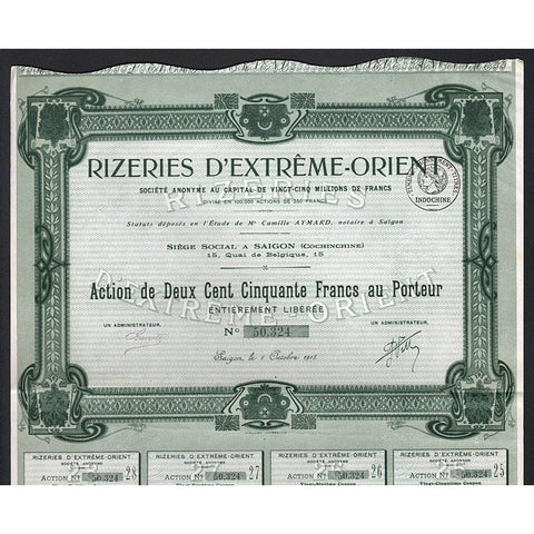 Rizeries D'Extreme-Orient Societe Anonyme Stock Certificate