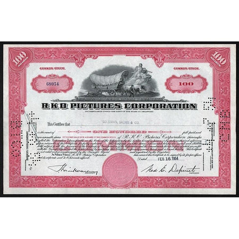 RKO Pictures Corporation (Radio-Keith-Orpheum) Stock Certificate