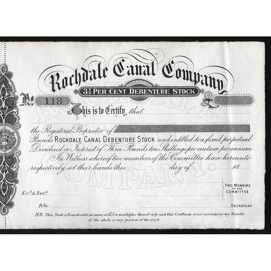 Rochdale Canal Company 1800x United Kingdom Stock Certificate