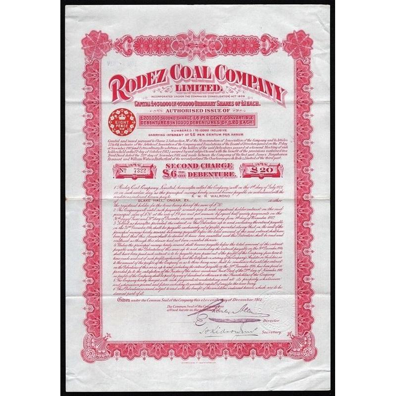 Rodez Coal Company Limited Stock Certificate
