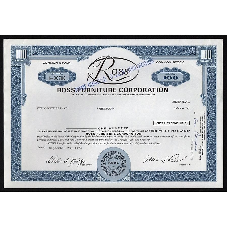 Ross Furniture Corporation Stock Certificate