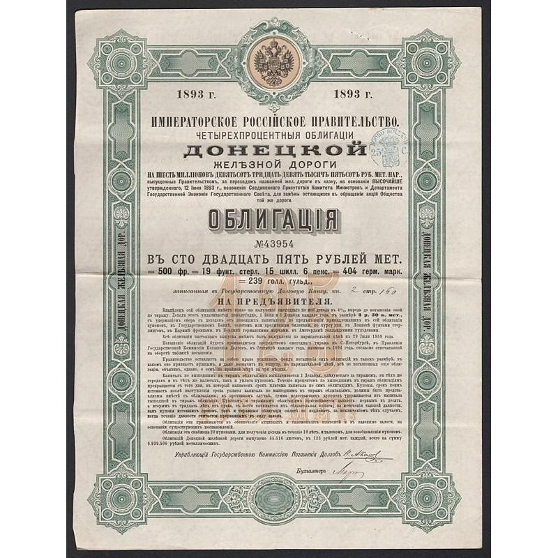 Russian Imperial Government, Donetz Railroad Stock Certificate