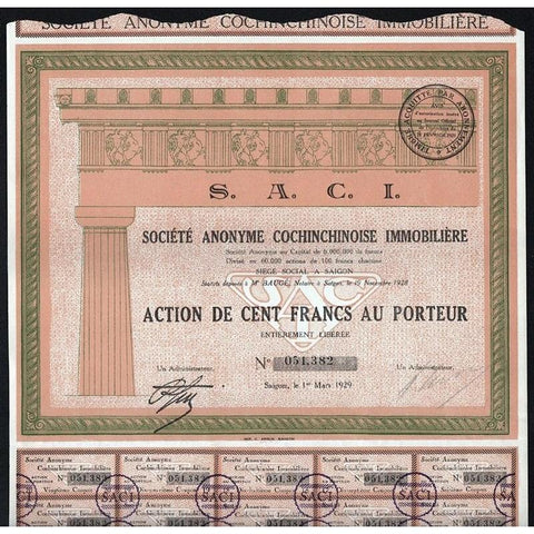 S.A.C.I., Societe Anonyme Cochinchinoise Immobiliere Stock Certificate