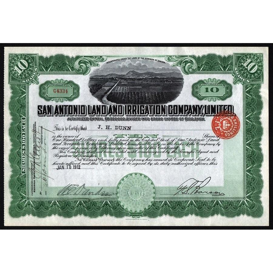 San Antonio Land and Irrigation Company, Limited Stock Certificate