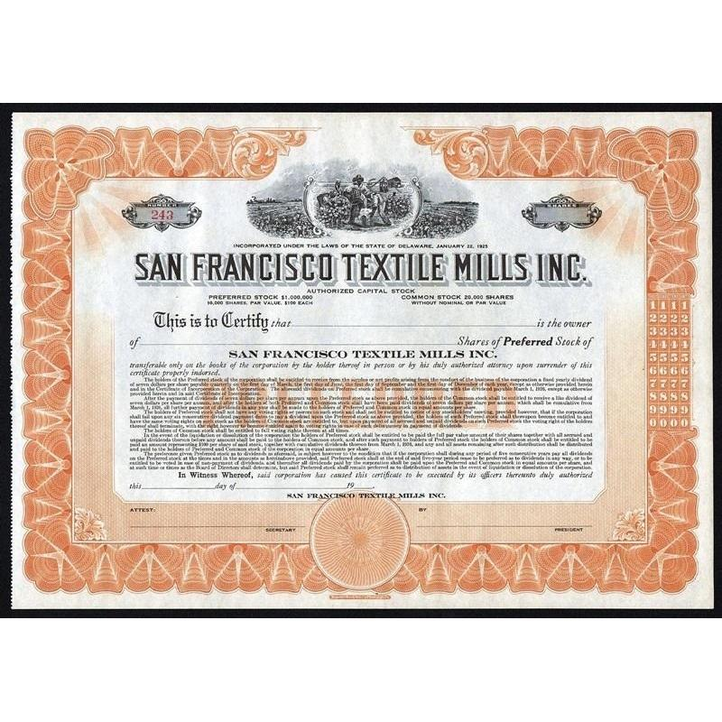San Francisco Textile Mills Inc. Stock Certificate