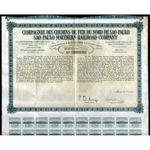 Sao Paulo Northern Railroad Company Stock Certificate