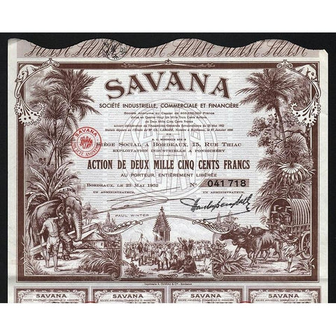 Savana Societe Industrielle, Commerciale et Financiere Stock Certificate
