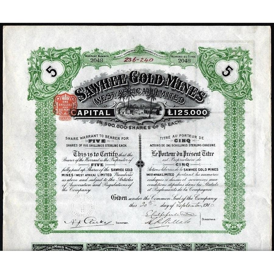 Sawhee Gold Mines (West Africa) Limited Stock Certificate