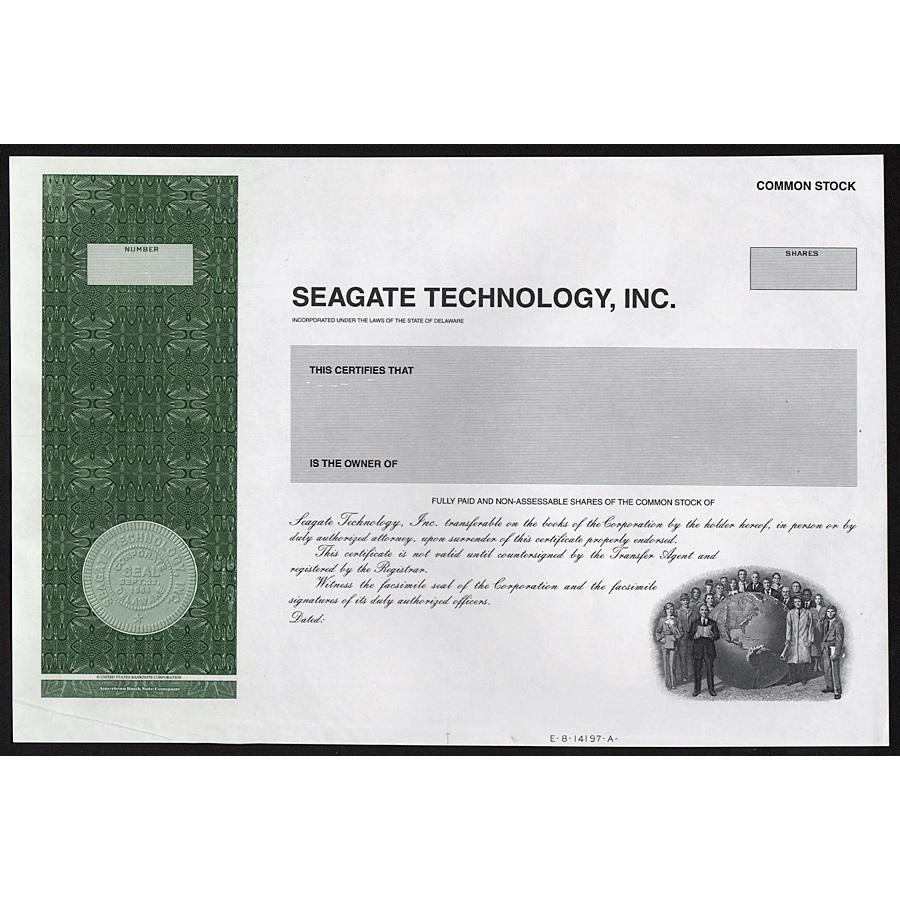 Seagate Technology, Inc. Stock Certificate
