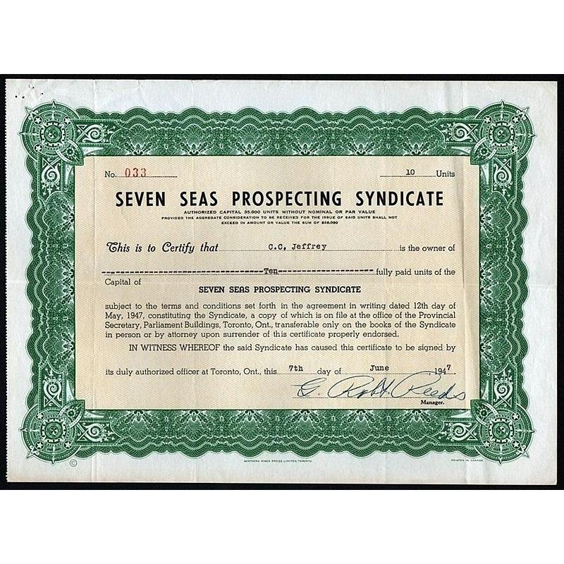Seven Seas Prospecting Syndicate Stock Certificate