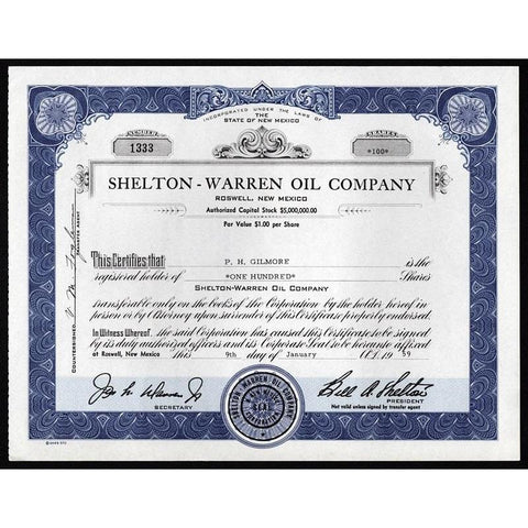 Shelton-Warren Oil Company Stock Certificate