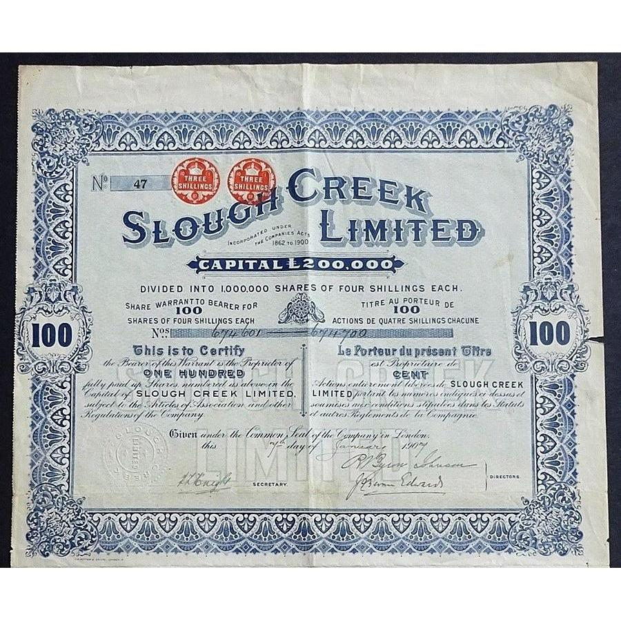 Slough Creek Limited Stock Certificate