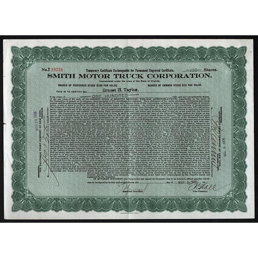 Smith Motor Truck Corporation Stock Certificate