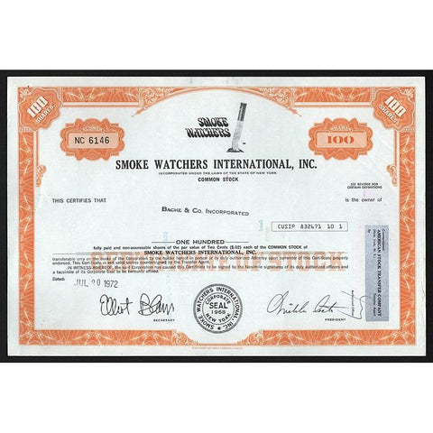 Smoke Watchers International, Inc. Stock Certificate