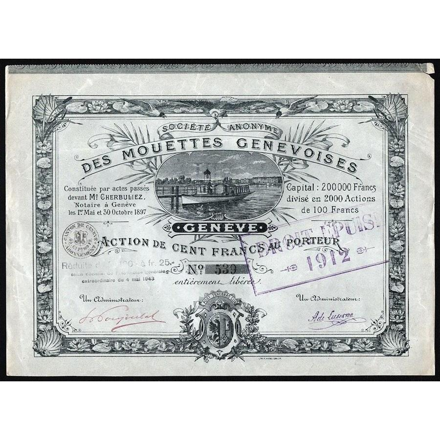 Societe Anonyme des Mouettes Genevoises (Geneve) Stock Certificate