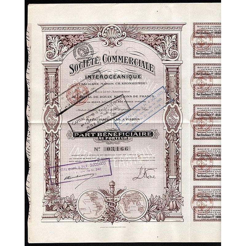 Societe Commerciale Interoceanique (Ancienne Maison Ch. Kronheimer) Societe Anonyme Stock Certificate
