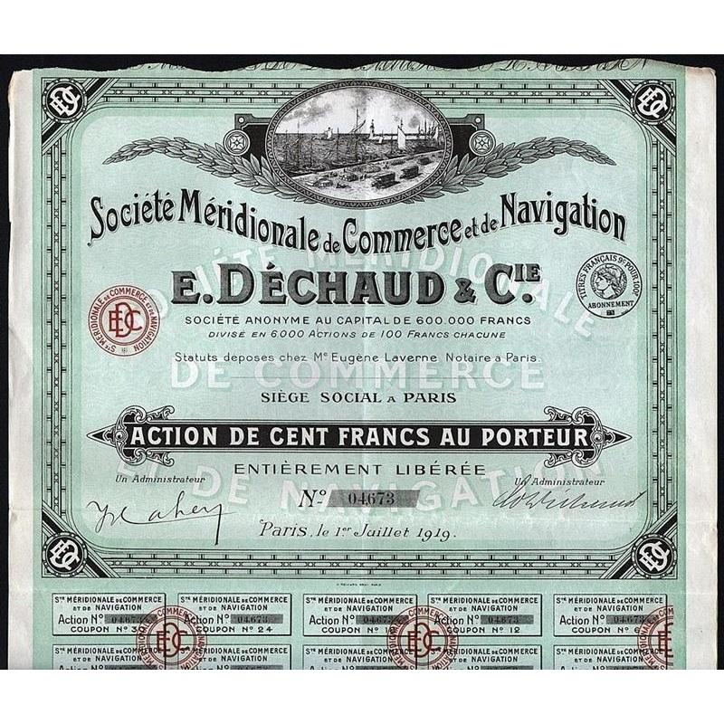 Societe Meridionale de Commerce et de Navigation, E. Dechaud & Cie. Stock Certificate