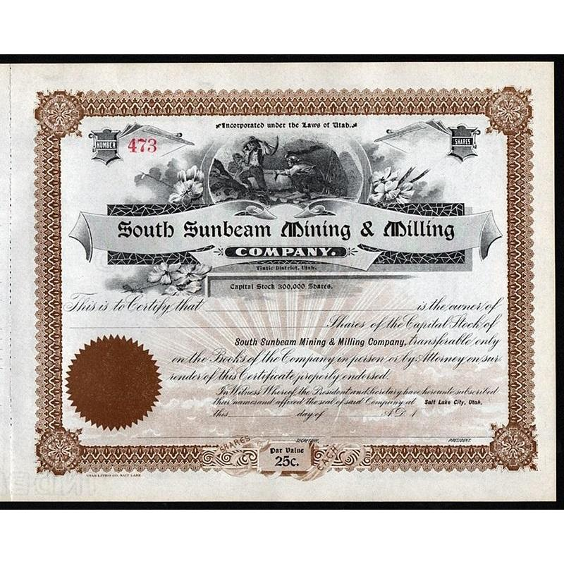 South Sunbeam Mining & Milling Company Stock Certificate