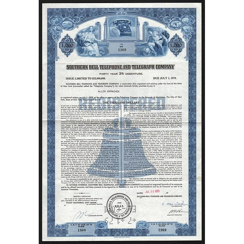 Southern Bell Telephone and Telegraph Company Stock Certificate