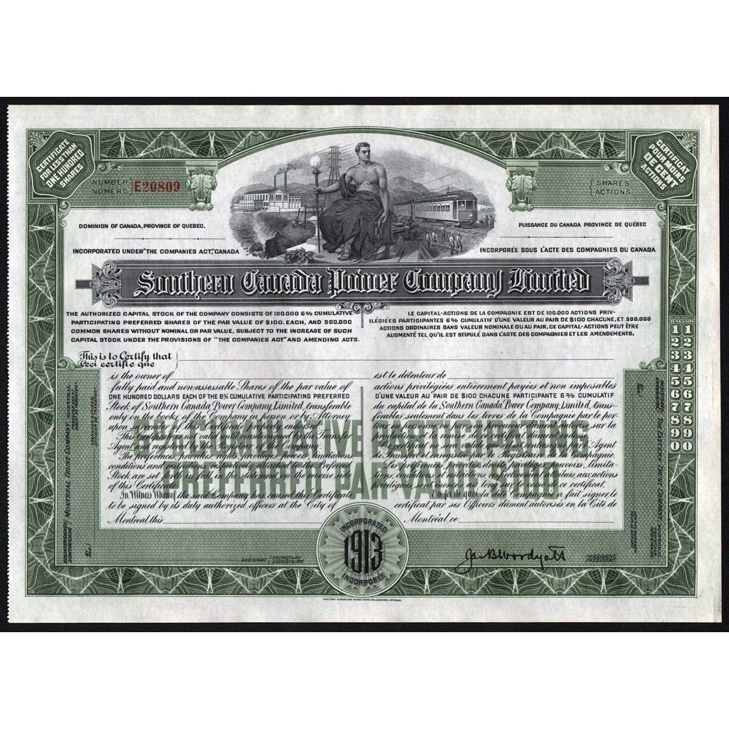 Southern Canada Power Company Limited Stock Certificate