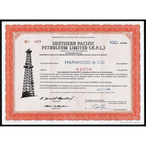 Southern Pacific Petroleum Limited (N.P.L.) Stock Certificate