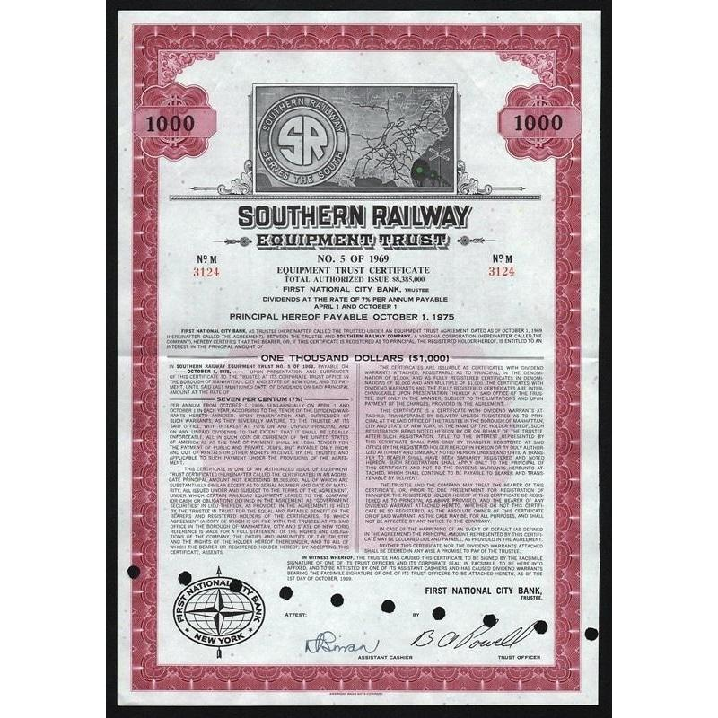 Southern Railway Equipment Trust, No. 5 of 1969 Stock Certificate