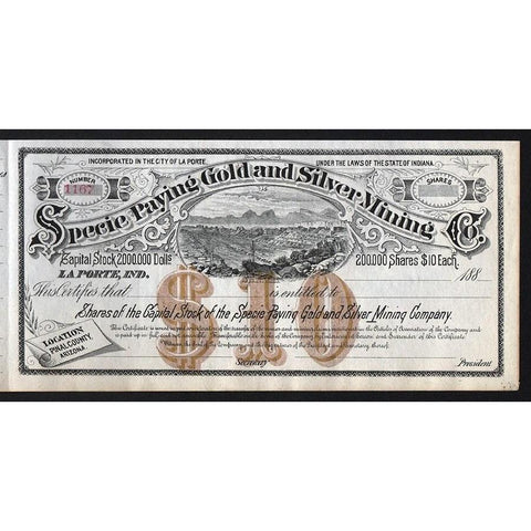 Specie Paying Gold & Silver Mining Co. Stock Certificate