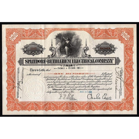 Splitdorf-Bethlehem Electrical Company (Thomas & Charles Edison) Stock Certificate